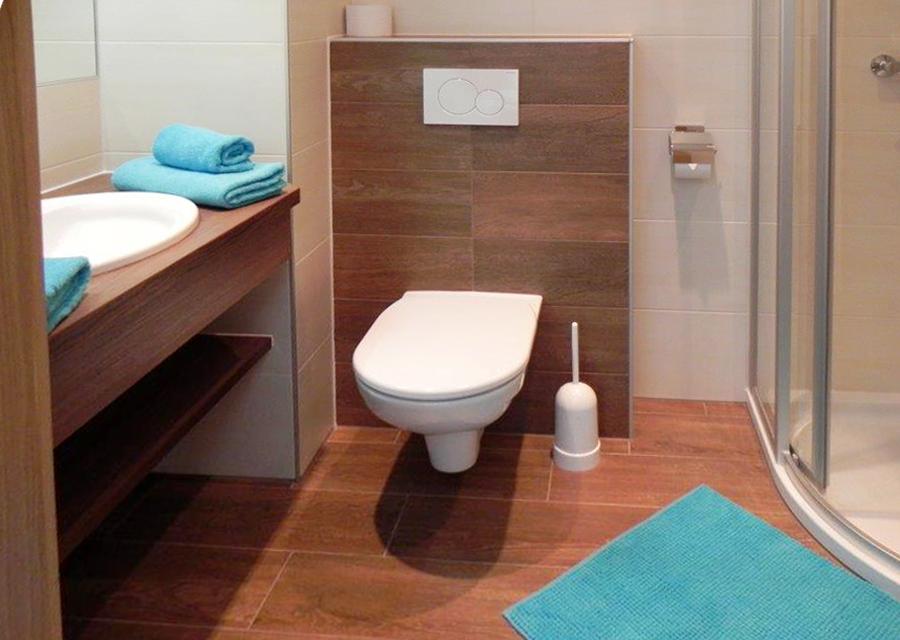 dusche und wc ausgestattet mit f n bade und handt cher haus ennstalblick. Black Bedroom Furniture Sets. Home Design Ideas